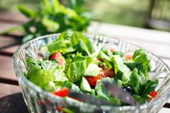 Fresh garden salad on a table. Royalty Free Stock Photography
