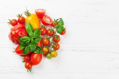 Fresh garden tomatoes and basil Stock Photography