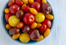 Fresh from garden tomatoes in bowl. Blue rustic bowl filled with colorful variety of fresh from the garden tomatoes Royalty Free Stock Photo