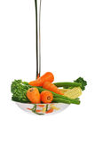 Fresh garden vegetables. Served in a ladle Royalty Free Stock Images