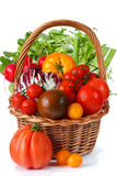 Fresh garden vegetables. Fresh garden vegetables with water drops on a wicker basket Stock Image