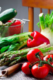 Fresh garden vegetables on the table. Selective focus Stock Images