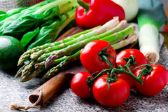 Fresh garden vegetables on the table. Selective focus Royalty Free Stock Images