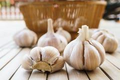 Fresh garlic on the bamboo floor. Fresh garlic on bamboo floor Stock Photo