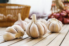 fresh garlic on the bamboo floor Stock Photography