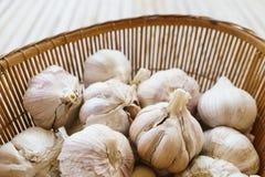 Fresh garlic in basket. Fresh garlic in bamboo basket Stock Photography
