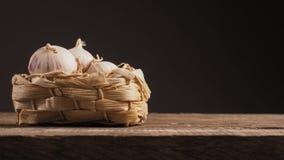 Fresh garlic in a basket Stock Photography