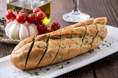 Fresh Garlic Bread on a plate Royalty Free Stock Images