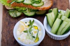 Fresh vegetarian sandwich with garlic cheese dip salad Royalty Free Stock Photos