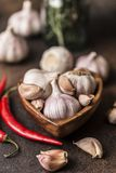 Fresh garlic with chili pepper on dark background. Garlic bulbs.  Stock Photography