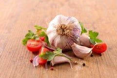 Fresh garlic clove. On wood royalty free stock photos