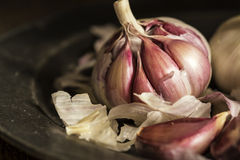 Fresh garlic cloves in moody natural lighting set up with vintag Royalty Free Stock Image