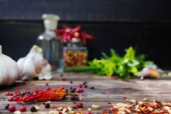 Fresh garlic, dried red hot chili peppers, fresh italian herbs Stock Photos