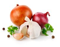 Fresh garlic fruits with green parsley Stock Photo