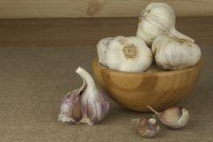 Fresh garlic. Garlic as an alternative medicine against colds and flu. Royalty Free Stock Image