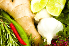 Fresh Garlic, Ginger, Chillies And Limes Royalty Free Stock Photography