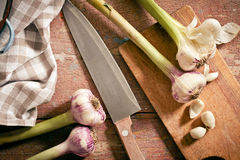 Fresh garlic with knife Royalty Free Stock Images