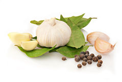 Fresh garlic with laurel and pepper Stock Photos