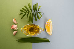 Fresh garlic, lemon and olive oil on a blue-green background. Royalty Free Stock Image