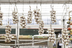 Fresh garlic on a market Royalty Free Stock Images