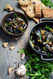 Fresh garlic and parsley to prepare mussels royalty free stock photos