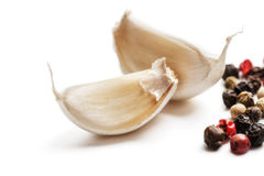 Fresh garlic with pepper Stock Image