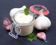 Fresh garlic sauce stock photos