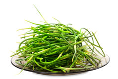 Fresh garlic scapes on plate Stock Photography