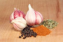 Fresh garlic and spices Royalty Free Stock Image