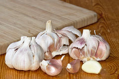 Fresh garlic on a wood Stock Photo