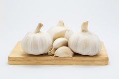 Fresh Garlic on wooden board, on white Stock Photo