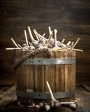 Fresh garlic in a wooden bucket. Stock Photo