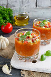 Fresh gazpacho on a wooden table Royalty Free Stock Images