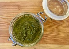 Fresh German wildgarlic pesto made in the spring season stock images