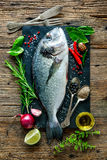 Fresh Gilt-head bream with spices and seasoning Stock Images