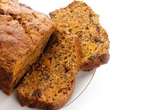 Fresh Ginger and fruit bread. With space for your message on right on pure white background Stock Photos