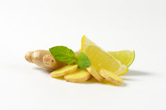 Fresh ginger with lemon and lime royalty free stock photos