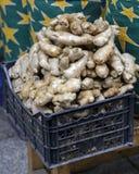 Fresh ginger in market. Royalty Free Stock Photos