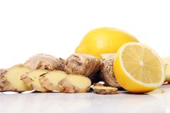 Fresh ginger root and lemon Royalty Free Stock Image