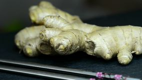 Fresh ginger root stock footage