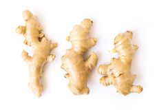 Fresh ginger roots on white background for herb and medical prod Stock Image