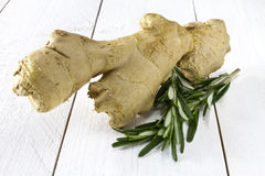 Fresh ginger and rosemary Royalty Free Stock Photo