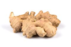 Fresh ginger on white background. Fresh organic ginger on a white background Stock Photos