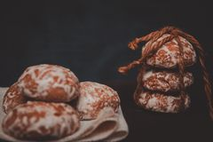 Fresh Gingerbread Cookies Tied With A Rope Stock Images
