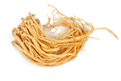 Fresh ginseng. On the white Royalty Free Stock Photography