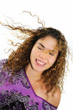 Fresh girl with eyes closed. Portrait of beautiful fresh young woman with eyes closed and smiling - isolated Stock Image