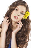 Fresh girl with flower in hair Royalty Free Stock Photos