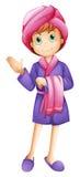 A fresh girl wearing a bathrobe Stock Photos