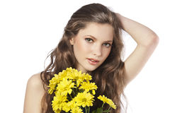 Fresh girl with yellow flower Royalty Free Stock Image
