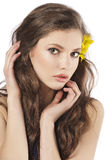 Fresh girl with yellow flower Stock Photo